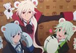 3boys :d animal_ears artist_request bear bear_ears bear_paws blue_eyes blue_hair copyright_name flower glasses green_eyes green_hair life_beauty life_cool life_sexy male_focus multiple_boys official_art open_mouth ponytail red_eyes rose smile white_hair yuri_kuma_arashi