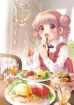 1girl basket blush bread brown_hair double_bun eating eggs_benedict food fukuda_fukutarou glasses hidamari_sketch hiro open_mouth red_eyes school_uniform short_hair steam