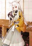 blush highres japanese_clothes kogitsunemaru obi purin_jiisan red_eyes sash solo touken_ranbu white_hair