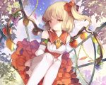 1girl alternate_costume alternate_wings amber_eyes apple ascot bare_shoulders blonde_hair detached_sleeves dress flandre_scarlet food fruit grapes hair_ornament hillly_(maiwetea) long_sleeves mango orange papaya red_dress side_ponytail sitting smile solo thigh-highs touhou white_legwear wings zettai_ryouiki