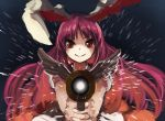 1girl animal_ears berabou blush glowing gun holding_weapon legacy_of_lunatic_kingdom long_hair looking_at_viewer outstretched_arms purple_hair rabbit_ears red_eyes reisen_udongein_inaba shirt short_sleeves simple_background smile solo touhou upper_body weapon wings