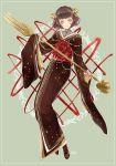 1girl black_hair fork mikuni_(mikunik) opera_cake original personification pocketland staff yellow_eyes