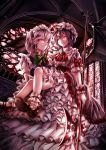 2girls ascot bat_wings battle_axe blue_dress brooch carrying dress highres izayoi_sakuya jan_(artist) jewelry maid maid_headdress mob_cap multiple_girls pink_dress princess_carry puffy_short_sleeves puffy_sleeves red_eyes remilia_scarlet scarlet_devil_mansion short_sleeves silver_hair touhou wings
