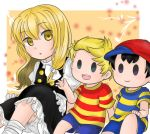 1girl 2boys :d baseball_cap black_hair blonde_hair crossover hat hat_removed headwear_removed kirisame_marisa long_hair lucas mother_(game) mother_2 mother_3 multiple_boys ness open_mouth puffy_sleeves shirt short_hair shorts sitting skirt skirt_set smile solid_oval_eyes striped striped_shirt super_smash_bros. t-shirt touhou yellow_eyes