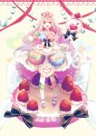 1girl dress food fruit highres long_hair macaron nanna_(irasutokanakili) original personification pocketland strawberry