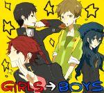 androgynous bad_id genderswap jacket kujikawa_rise long_hair mouth_hold persona persona_4 satonaka_chie school_uniform shirogane_naoto trap ws_(pixiv)