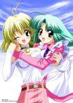 blonde_hair blue_eyes canal_vorfeed green_hair hug lost_universe millennium_feria_nocturne purple_eyes sugimura_tomokazu wink