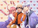 1girl 2boys akise_aru amano_yukiteru angry arm_grab belt bisexual black_hair crying gasai_yuno hand_in_pocket hat heart heart_background holding_hands jacket jealous long_hair love_triangle mirai_nikki multiple_boys necktie open_mouth pink_eyes pink_hair red_eyes sad school_uniform short_hair silver_hair skirt skirt_grab skirt_hold smile tears twintails violet_eyes wavy_mouth