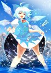 1girl blue_hair bow cirno closed_eyes dress hair_bow ice mountain open_mouth puffy_sleeves ribbon short_hair smile solo touhou warugaki_(sk-ii) water wet wings