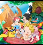 3boys agemono airplane bad_id black_hair blonde_hair blue_eyes brown_eyes brown_hair charizard doseisan goggles halberd_(airship) hat hose hoshi_no_kirby ivysaur jigglypuff kirby_(series) lucario lucas male_swimwear mother_(game) mother_2 mother_3 mr._saturn multiple_boys ness pikachu poke_ball pokemon pokemon_(creature) pokemon_(game) pokemon_rgby pokemon_trainer popsicle red_(pokemon) red_(pokemon)_(remake) red_eyes smile squirtle summer super_smash_bros. super_smash_bros_brawl swim_trunks swimsuit tail tail-tip_fire wading_pool water_gun wings wink
