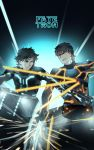 111111111_(leiyao) 2boys black_hair black_keys bodysuit brown_hair emiya_kiritsugu fate/zero fate_(series) glowing glowing_sword glowing_weapon kotomine_kirei motor_vehicle motorcycle multiple_boys neon_trim parody tron vehicle weapon