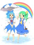 barefoot blue_eyes blue_hair cirno daiyousei feet green_hair hair_ribbon kareha_aki multiple_girls rainbow ribbon touhou umbrella wading water wink