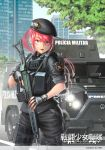 1girl ammunition_pouch armored_personnel_carrier artist_name backpack badge bag battle_rifle beret blue_eyes fingerless_gloves fn_fal gloves gun hat korean kws load_bearing_vest long_hair military military_police military_vehicle operator original pink_hair ponytail portuguese rifle translation_request vehicle volkswagen watch weapon