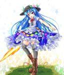 black_legwear blue_hair boots food fruit hat hinanawi_tenshi long_hair peach red_eyes sword_of_hisou thigh-highs touhou unory very_long_hair