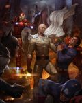 5boys armor bald batman building cape captain_america city clenched_hand clothes_grab clouds cloudy_sky crossover dc_comics debris embers fire floating gloves helmet highres iron_man lens_flare male male_focus marvel mask motion_blur multiple_boys muscle no_pupils onepunch_man red_gloves saitama_(onepunch_man) sky skyscraper superhero superman torn_clothes watermark web_address woo_chul_lee