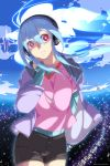 1girl blue_hair headphones highres john_su long_hair musical_note original smile solo symbol-shaped_pupils violet_eyes
