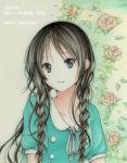 1girl akiyama_mio black_eyes black_hair braid dress happy_birthday k-on! kuroshima_nana long_hair singing! twin_braids twintails