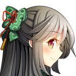 1girl black_hair blush bow hair_bow japanese_clothes kimono long_hair looking_at_viewer lowres oimo_(imoyoukan) portrait profile red_eyes reiuji_utsuho smile solo touhou