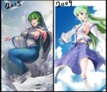 1girl armpits blue_skirt breasts comparison detached_sleeves frog_hair_ornament gohei green_eyes green_hair hair_ornament impossible_clothes kochiya_sanae large_breasts long_hair looking_at_viewer open_mouth sideboob skirt skirt_set sky_of_morika snake_hair_ornament solo touhou wide_sleeves
