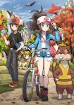 1boy 1girl autumn autumn_leaves bag baseball_cap bicycle blue_eyes braviary brown_eyes brown_hair deerling denim denim_shorts hat jacket jacket_removed long_hair pokemoa pokemon pokemon_(creature) pokemon_(game) pokemon_bw ponytail shorts touko_(pokemon) touya_(pokemon) watchog