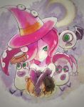 1girl gloves green_eyes halloween halloween_costume hat highres moon octarian octopus pumpkin redhead splatoon star takozonesu takuzou tentacle_hair witch_hat
