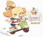 aoneko bag dog doubutsu_no_mori hurry mario_kart_8 motor_vehicle no_humans rikose school_uniform scooter shizue_(doubutsu_no_mori) tail vehicle