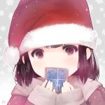 1girl artist_name black_eyes black_hair blush christmas covered_mouth cristian_penas face gift hat holding long_sleeves looking_at_viewer original outline santa_costume santa_hat short_hair sleeves_past_wrists snowflakes solo upper_body