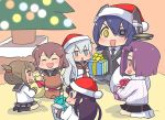 6+girls :d ^_^ akatsuki_(kantai_collection) anchor_symbol black_hair black_legwear black_skirt blue_eyes blush box brown_eyes brown_hair chibi christmas christmas_tree closed_eyes eyepatch fang folded_ponytail gift gift_box hair_ornament hairclip hat hibiki_(kantai_collection) ikazuchi_(kantai_collection) inazuma_(kantai_collection) kantai_collection long_hair machinicalis multiple_girls neckerchief open_mouth pleated_skirt ponytail purple_hair santa_hat school_uniform serafuku short_hair silver_hair sitting skirt smile stuffed_animal stuffed_toy tatsuta_(kantai_collection) teddy_bear tenryuu_(kantai_collection) violet_eyes white_legwear