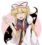 1girl armband blonde_hair closed_eyes dress eyeballs facing_viewer gap hair_ribbon hat hat_ribbon long_hair long_sleeves mob_cap okomedaisuki5 open_mouth payot ribbon simple_background smile solo tabard touhou tress_ribbon two-tone_background very_long_hair white_dress wide_sleeves yakumo_yukari