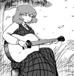 1girl collared_shirt eyebrows_visible_through_hair falling_leaves grass guitar instrument kazami_yuuka long_sleeves monochrome music necktie nicetack open_mouth outdoors plaid plaid_skirt plaid_vest playing_instrument shirt short_hair singing sitting skirt skirt_set solo touhou tree vest