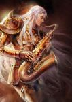 1boy armor closed_eyes fingerless_gloves fooltown golden_armor instrument long_hair male male_focus musical_instrument playing_instrument saint_seiya saxophone silver_hair solo taurus_aldebaran