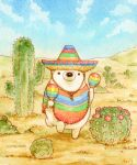 artist_name bear blue_sky cactus chin_strap colored_pencil_(medium) desert hat instrument maracas no_humans original outdoors pincushion_cactus polar_bear poncho prickly_pear_cactus saguaro sky sombrero st.kuma traditional_media watercolor_(medium)
