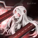 1girl airfield_hime ao_ebi glowing glowing_eyes horns kantai_collection long_hair monster_girl red_eyes shinkaisei-kan smile