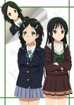 3girls akiyama_mio black_eyes black_hair cosplay costume_switch cp9a crossover extra green_eyes hibike!_euphonium highres hikasa_youko k-on! long_hair look-alike multiple_girls saitou_aoi sasaki_youko school_uniform seiyuu_connection serafuku