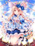 1girl animal_ears basket blonde_hair blue_eyes dress easter_egg hat nogi_takayoshi original rabbit_ears