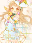 1girl :d bangs bow brown_hair button_eyes detached_sleeves earrings easter_egg egg_earrings flower hat hat_flower jewelry love_live!_school_idol_project minami_kotori open_mouth pumpkin_pants ribbon sleeves_past_wrists smile solo stuffed_animal stuffed_bunny stuffed_toy suzuhara_(13yuuno) yellow_eyes