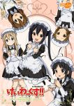 5girls akiyama_mio alternate_costume black_eyes black_hair blonde_hair blue_eyes brown_eyes brown_hair cup enmaided hat hirasawa_yui k-on! kotobuki_tsumugi long_hair maid multiple_girls nakano_azusa pantyhose ryunnu tainaka_ritsu teacup twintails