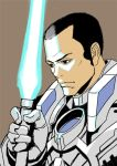 1boy armor black_hair decoponmagi doug_(xenoblade_x) energy_sword lightsaber solo sword weapon xenoblade_chronicles_x