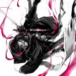 1girl bloodborne copyright_name gloves hood hunter_(bloodborne) kmitty looking_at_viewer monochrome pink_eyes solo spot_color sword weapon