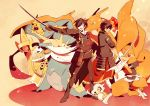 2boys :d aegislash bisharp black_gloves black_hair black_pants bone charizard crossover cubone dragon eyepatch fire gloves holding_sword holding_weapon long_sleeves military military_uniform multiple_boys ookurikara open_mouth pants pikachu pokemon pokemon_(creature) samurott shoes shokudaikiri_mitsutada short_hair smile sode standing sword touken_ranbu uniform weapon yu_(yzko)