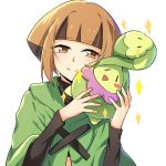 1girl blush_stickers brown_eyes brown_hair budew gym_leader headband highres natane_(pokemon) pokemon pokemon_(creature) pokemon_(game) pokemon_dppt short_hair simple_background smile sparkle transistor white_background