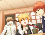 1boy 2girls absurdres black_coat brown_eyes brown_hair closed_eyes coat cup emiya_shirou fate/grand_order fate/stay_night fate_(series) fujimura_taiga fur-trimmed_sleeves fur_trim highres holding holding_cup indoors jaguarman_(fate) multiple_girls ninai open_mouth orange_hair raglan_sleeves short_hair white_coat