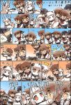 >_< +++ /\/\/\ 6+girls ^_^ airplane akashi_(kantai_collection) akatsuki_(kantai_collection) black_skirt blue_eyes blue_skirt brown_eyes brown_hair chibi closed_eyes comic commentary crying dress fang flat_cap flying_sweatdrops flying_teardrops folded_ponytail grey_eyes hair_ornament hairclip hands_on_another's_face hat hibiki_(kantai_collection) hisahiko holding_hands horns hug ikazuchi_(kantai_collection) inazuma_(kantai_collection) kantai_collection long_hair mittens multiple_girls neckerchief northern_ocean_hime pale_skin pleated_skirt ponytail reppuu_(kantai_collection) ryuujou_(kantai_collection) sample school_uniform seaport_hime serafuku shinkaisei-kan short_hair skirt sleeveless sleeveless_dress straight_hair streaming_tears tearing_up tears translated wavy_mouth white_hair yellow_eyes