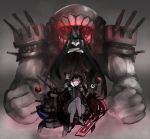 2girls battleship-symbiotic_hime black_dress black_hair bonnet breasts cannons chin_rest cleavage clenched_hands crossed_arms crossed_legs detached_sleeves dress facing_viewer floating_fortress_(kantai_collection) glowing glowing_eyes gomasionori grin gunbuster_pose horns isolated_island_oni kantai_collection large_arm large_breasts long_hair looking_at_viewer mist monster multiple_girls oni_horns outstretched_finger pale_skin pantyhose red_eyes shinkaisei-kan short_dress sitting smile standing teeth thigh-highs very_long_hair wrist_cuffs you_gonna_get_raped