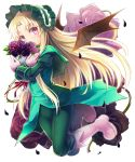 1girl blonde_hair bouquet demon_wings flower highres kaitou_tenshi_twin_angel kouzu_shou long_hair looking_at_viewer solo violet_eyes wings