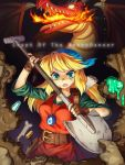 1girl amulet blonde_hair cadence_(necrodancer) copyright_name crypt_of_the_necrodancer dragon english gloves green_eyes jewelry long_hair looking_at_viewer serious shovel solo straynight tagme worktool