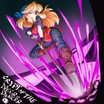 1girl blonde_hair blue_eyes boots cadence_(necrodancer) copyright_name crypt_of_the_necrodancer english gloves long_hair one_eye_closed pants shirt shovel solo straynight tagme worktool