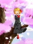 1girl :d ^_^ blonde_hair cherry_blossoms closed_eyes hair_ribbon in_tree open_mouth petals ribbon rody_(hayama_yuu) rumia shirt sitting sitting_in_tree skirt smile touhou tree vest