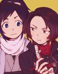 2boys black_hair blue_eyes brown_hair bu_(artist) kashuu_kiyomitsu male_focus mole mole_under_eye mole_under_mouth multiple_boys nail_polish ponytail red_eyes scarf touken_ranbu upper_body yamato-no-kami_yasusada