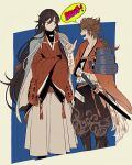 2boys ^_^ black_hair blue_eyes braid brown_hair bu_(artist) closed_eyes crossed_arms english fang finger_gun izumi-no-kami_kanesada japanese_clothes katana male_focus multiple_boys mutsu-no-kami_yoshiyuki open_mouth side_braid smile sode speech_bubble sword touken_ranbu weapon